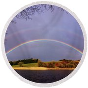 Rainbow On The Double Round Beach Towel