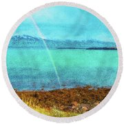 Rainbow On Videy Round Beach Towel