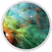 Rainbow Orion Nebula Round Beach Towel by Jennifer Rondinelli Reilly - Fine Art Photography