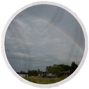 Rainbow Over Beach Cottages Round Beach Towel