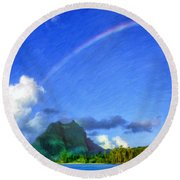 Rainbow Over Bora Bora Round Beach Towel