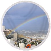 Rainbow Over Haifa, Israel  Round Beach Towel