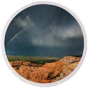 Rainbow Over Hoodoos Bryce Canyon National Park Utah Round Beach Towel