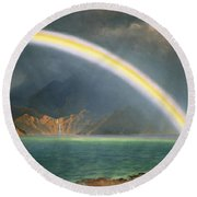 Rainbow Over Jenny Lake Wyoming Round Beach Towel by Albert Bierstadt