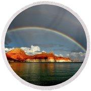 Rainbow Over Lake Powell Round Beach Towel
