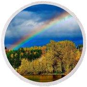 Rainbow Over Mill Pond Round Beach Towel