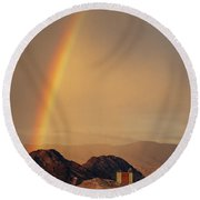Rainbow Over Nevada Round Beach Towel