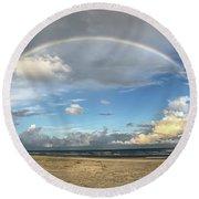 Rainbow Over Ocean Round Beach Towel