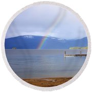 Rainbow Over Priest Lake Round Beach Towel