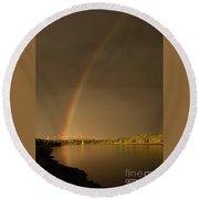 Rainbow Over Sagamore Bridge, Cape Cod Round Beach Towel
