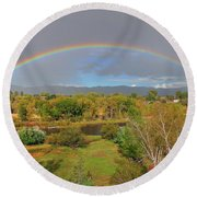 Rainbow Over The Araknsas Round Beach Towel