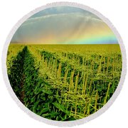 Rainbow Over The Cornfields Round Beach Towel