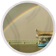Rainbow Over The Danube In Tulln Austria Round Beach Towel