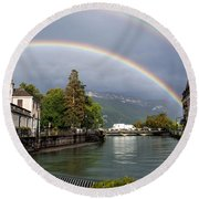 Rainbow Over Thiou River In Annecy Round Beach Towel