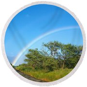 Rainbow Over Treetops Round Beach Towel