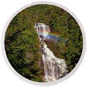 Rainbow Over Whitewater Falls Round Beach Towel