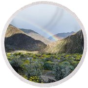 Rainbow Palm Round Beach Towel