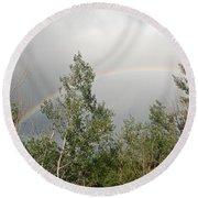 Rainbow Past The Treeline Round Beach Towel