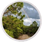 Rainbow Path Round Beach Towel