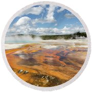 Rainbow Pool In Yellowstone National Park Round Beach Towel