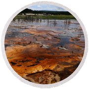 Rainbow Pool - Yellowstone Np Round Beach Towel