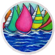 Rainbow Regatta Round Beach Towel