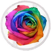 Rainbow Rose 01 Round Beach Towel