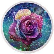 Rainbow Rose In The Rain Round Beach Towel