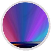 Rainbow Setting Round Beach Towel