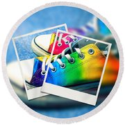 Rainbow Sneakers One Round Beach Towel