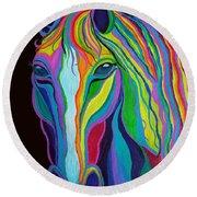 Rainbow Stallion Round Beach Towel