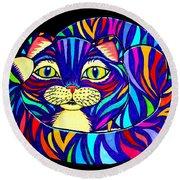 Rainbow Striped Cat 2 Round Beach Towel