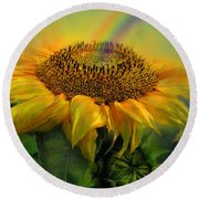 Rainbow Sunflower Round Beach Towel