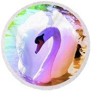 Rainbow Swan Round Beach Towel