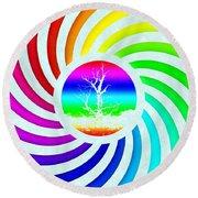 Rainbow Swirl Tree Round Beach Towel