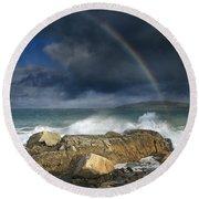 Rainbow To Heaven Shamrock Shores  Round Beach Towel