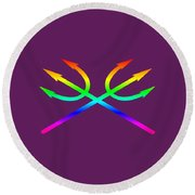 Rainbow Tridents Round Beach Towel