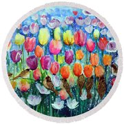 Rainbow Tulips Round Beach Towel