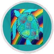 Rainbow Turtle Round Beach Towel