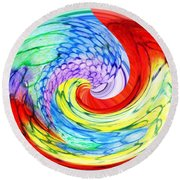 Rainbow Twirl Round Beach Towel