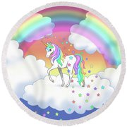 Rainbow Unicorn Clouds And Stars Round Beach Towel
