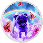 Rainbow Unicorn Pug In The Clouds In Space Round Beach Towel