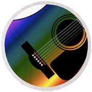 Rainbow Western Guitar Round Beach Towel