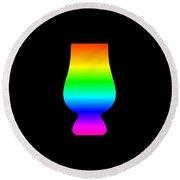 Rainbow Whiskey Glass Round Beach Towel