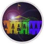 Rainbow White House Flare Round Beach Towel