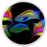 Rainbowfish3 Round Beach Towel