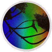 Rainbows And Stary Clouds Round Beach Towel