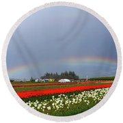 Rainbows At Tulip Festival Round Beach Towel