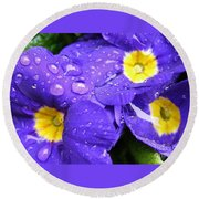 Raindrops On Blue Flowers Round Beach Towel