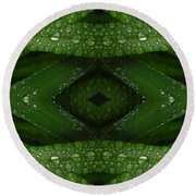 Raindrops On Green Leaves Collage Round Beach Towel